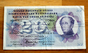 20 Francs, Bank of Switzerland, 1974.