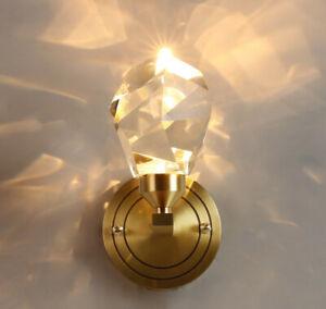 Modern LED Crystal Wall Gold Lamp Copper Bedroom Luxury Indoor Fixtures Light