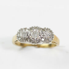 EXQUISITE 14K YELLOW GOLD 3 STONE HALO 1/2 CARAT COCKTAIL DIAMOND RING SIZE 7
