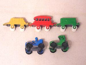 Vintage JAPAN Miniature Old Fashion Metal Locomotive Train Carriages & 2 Cars