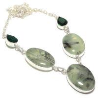 Prehnite Gemstone Handmade 925 Sterling Silver Jewelry Necklace 18 8218