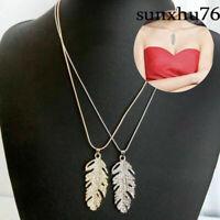 Women Necklace Glamour Crystal Rhinestone Feather Leaf Pendant Chain Boho