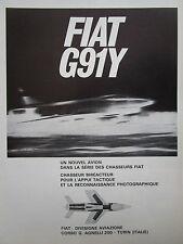 2/1966 PUB FIAT AVIAZIONE FIAT G.91 Y ITALIAN AIR FORCE ORIGINAL FRENCH AD