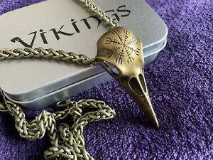 Viking Raven Skull Necklance Nordic Crow with box - UK Seller