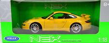 Porsche 911 (997) GT3 Baujahr 2008 gelb Maßstab 1:18 von Welly
