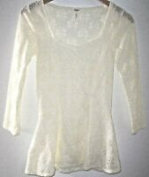 Free People Ivory Floral Eyelet Lace Top Women's S Peplum Detail Boho Romantic