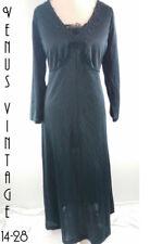 "UK 18 Vintage 1970s Maxi Dress Black Silky Boho Goth Empire Line Bust 44"" 112cm"