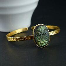 Labradorite Gemstone Vintage Dainty Cuff Designed Gold Plated Bangle Bracelet