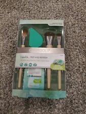 EcoTools Prep + Refresh Brush Kit, Cosmetic Makeup Brushes Sponge Cleaning Set