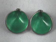 Einar Modahl Sterling & Green Enamel Clip Earrings
