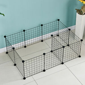 Pet Cage Metal Playpen Dog Cat Rabbit Play Pen Wire Run Fence Enclosures Black
