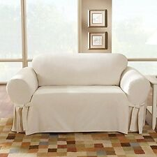 Sofa (NATURAL color ) Cotton Duck Lightweight One Piece Slipcover sure fit