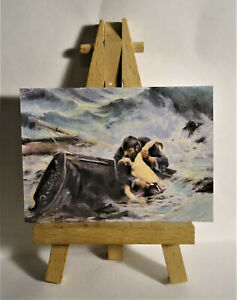 Farewell Lovers in ocean  ACEO Original PAINTING by Ray Dicken a John Waterhouse