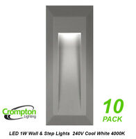 10 x LED Step & Wall Lights Grey Surface Mount Exterior 240V 1W Cool White
