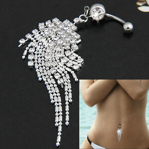 Crystal Tassel Chain Dangle Body Piercing Navel Belly Bar Button Ring Jewelry