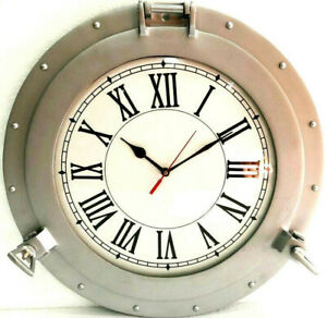 "Antique Marine 20"" Brass Ship Silver Porthole Clock Nautical Wall Mounted Clock"