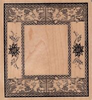 """flower tile border psx Wood Mounted Rubber Stamp  3 1/2 x 4""""  Free Shipping"""