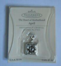 Hallmark April Heart Motherhood Swarovski Crystal Birth Month Charm Silver Plate