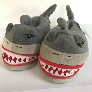 Shark Slippers Gray Boys Small Medium Size 13 / 1 Plush Animal Glow in Dark Shoe