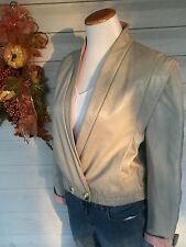 Vintage 80s XS/S Gray Leather Jacket With Pink Leather Trim Classic 80s Sz. 7