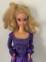 1966 1985 Rockers Barbie Doll Blonde Hair Blue Eyes Purple Dress Mattel Vintage