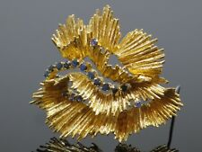 Yellow Gold Brooch Pin, 20.1g Abstract Vintage 1Ctw Sapphire 18K