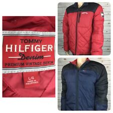 Vintage TOMMY HILFIGER Denim Mens Red/Blue Reversible Puffer Jacket Large
