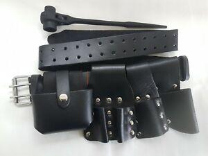 Scaffolding Leather Tool Belt + Heavy Duty Black Ratchet 19/21mm 2 way