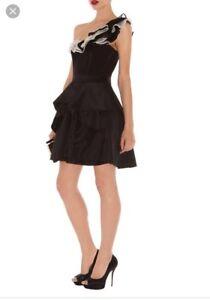 Gorgeous Karen Millen Evening Dress, Black, Size 8,ruffle,New With Tags Rrp £190
