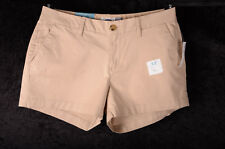 """Women's Old Navy KHAKI Beige Mid Rise Shorts 3.5"""" Length RUBBER BAND Size 4  NEW"""