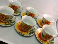 7 oz Coffee cup 12 pc cup and saucer set Cappuccino tea coffee cup set Sunflower