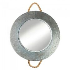 Rustic Western Country Vintage Galvanized Round Tin Wall Mirror w/ Rope Handles
