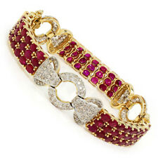 Vintage Ruby Link Bracelet with Diamonds in 14K Two Tone Gold 19.50ctw Estate