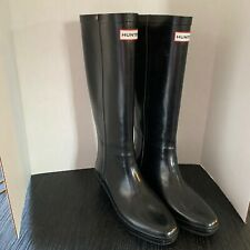 HUNTER Boots Sz 9 M AROLLA Tall Wedge Heel Rain boots Black