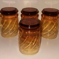 Vintage Libbey Juice Glasses Barware Honey Amber Swirl Set of 4 MCM 1960s