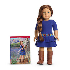 "NEW IN BOX American Girl Saige 18"" 2013 Doll COMPLETE w/ Book Ring Earrings Sage"