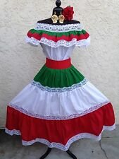 MEXICAN FIESTA, CINCO DE MAYO,WEDDING DRESS OFF SHOULDER W/RUFFLE 2 PIECE SIZE L