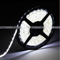 Waterproof Cool White 5M 3528 SMD 300 LED Flexible Strip Light 12V DC Black PCB