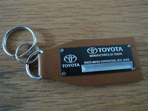 Vintage Toyota Data Plate Leather Keychain Camry Supra MR2 Corolla Celica Corona