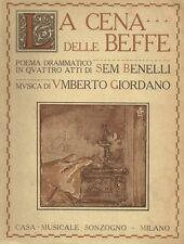 La Cena delle Beffe Poema Drammatico di Sem Benelli 1925