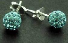 925 argento Sterling 6mm Aqua Blue Crystal Cz Orecchini Bucato Scatola Regalo