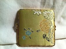 """Vintage Compact Double Sided Mirror Yellow Flowers 2 3/4"""" Square Gold Edges"""