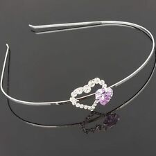 18K White Gold Plated Heart Hair Band Headband use Genuine Swarovski Crystals