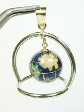 1321 Frame & Minature Globe 18k Pendant or Hung in Your Curio Cabinet 10.4g TW