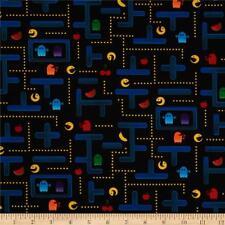 PACMAN Fabric Fat Quarter Cotton Craft Quilting - Retro Video Games KIDS