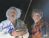 MICHAEL J FOX CHRISTOPHER LLOYD SIGNED BACK TO THE FUTURE 11X14 PHOTO PSA LOA F