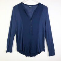 Lucky Brand Womens Top L Blue Long Sleeve Blouse Stretch V-neck Button-up