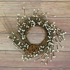 10-Inch Ivory Pip Berries Garland Twig with Rusty Barn Stars Home Living Decors