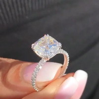 2.00 Ct Cushion Cut Brilliant White Diamond Engagement Ring 14K White Gold Over