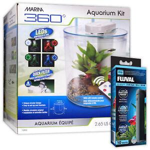 Marina 360 Tropical Aquarium LED Remote 4 Colours Fish Tank Heater Beginner 10L